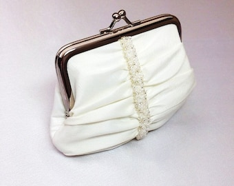 Ivory Swarovski elements beaded bridal/occasion coin purse