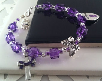Cross with Purple Robe, Crohn's, Ulcerative Colitis, Lupus, ITP, Fibromyalgia, CFS, Cystic Fibrosis, Epilepsy,  Gift for her, Gift for Mom