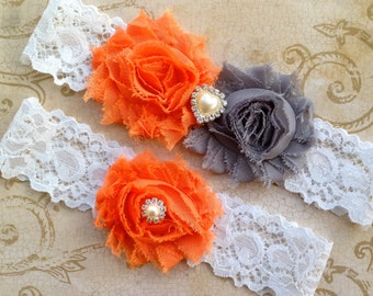 Wedding Garter, Bridal Garter - Orange Gray Wedding Garter, Lace Wedding Garter, Orange Bridal Garter, Bridal Garter Set, Wedding Garter Set