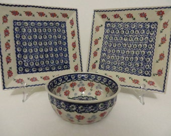 Manufactura Handmade in Poland Square Plates and Bowl