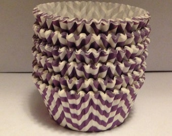 Clearance! 75 count - Greaseproof  Purple chevron design standard size cupcake liners/baking cups