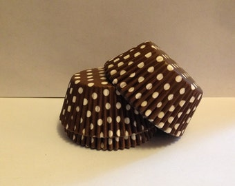 75 count - Grease Resistant Brown with White Polka dots standard size cupcake liners/baking cups
