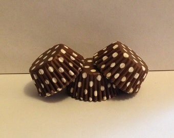 50 count - Grease Resistant Brown with White Polka dots mini size cupcake liners/baking cups
