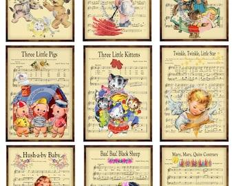 9 Vintage Grunge Nursery Rhymes / Lullabies Music Sheet ATC ACEO / Retro Children Digital Collage Sheet Tags Images—Printable Ephemera
