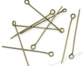 100 Antique Bronze Eye Pins 35mm -   Bronze Findings - Jewelry Making Findings Supply - EP24