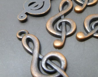 Treble Charms in Antique Tibetan Copper - Music  Notes Charms -  MC0276