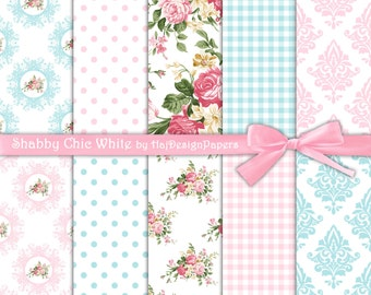 "Shabby chic digital paper : ""Shabby Chic White"" pink rose digital paper with gingham, damask and polka dot patterns, floral digital paper"