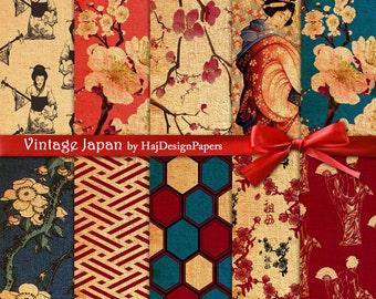 Vintage Japan - Instant Download, Digital Paper, Floral Ornamental Digital Paper Pack Scrapbook Paper Decoupage Paper Background Texture