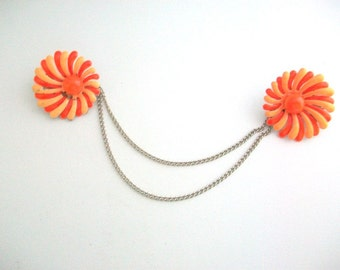 Sweater Clips, Orange Sweater Clips, Flower Sweater Clips Daisy Sweater Clips Collar Clips Sweater Guards Cardigan Keeper Fall Sweater Clips