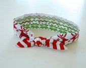 Retro Top Knot Headband in a Fair Isle Christmas Print for Girls Child Adult Women - shopmaisiejayne