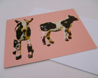 Two Calves Greetings Card - Cow Greeting Card, Vintage Toy Card, Lead Animals, Modern Retro Card, Black And White Cows, Notecard, Pink, Cows