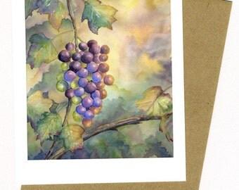Grapes Note Card Original Watercolor