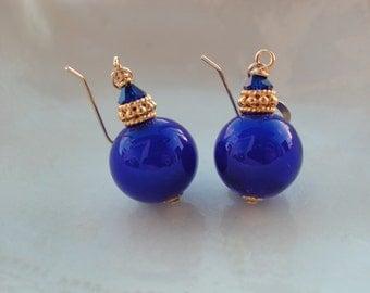 Cobalt Blue Earrings, Venetian Murano Glass