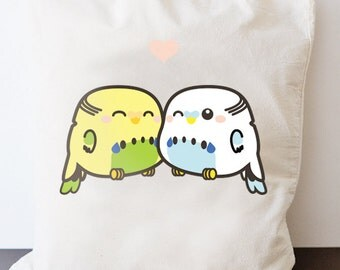 Budgies in love - bag - long handle shopping