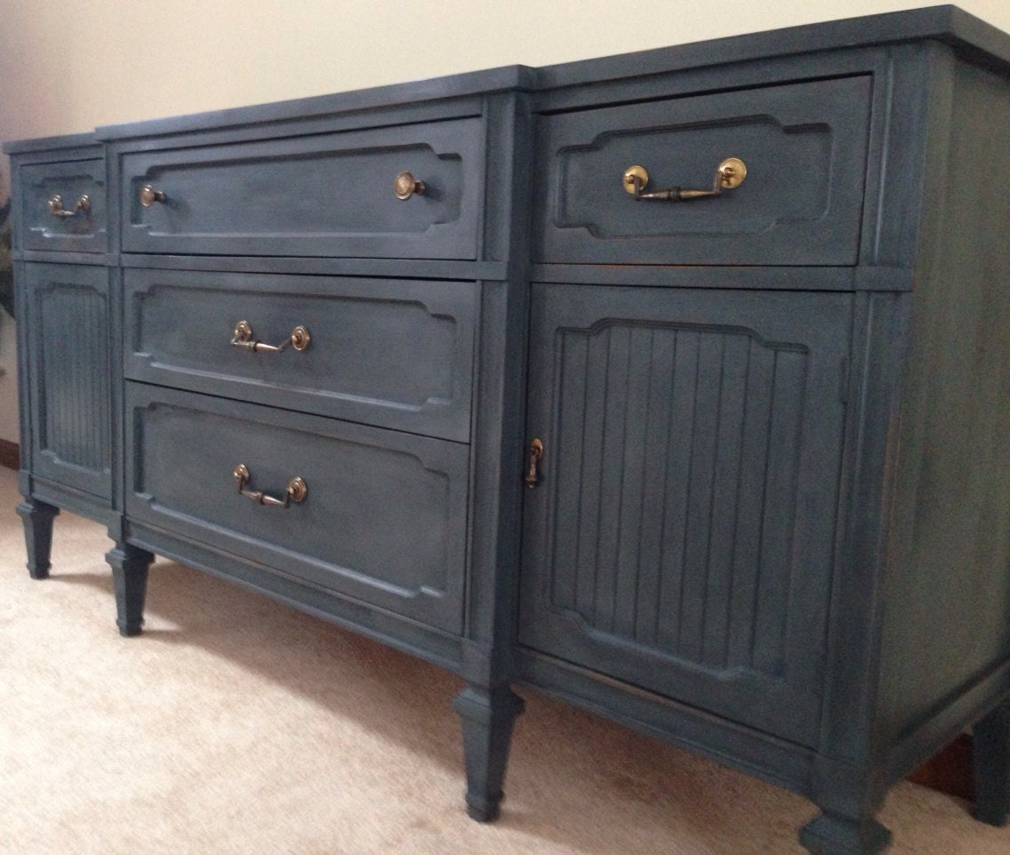 Vintage buffet entertainment center dresser in dark grey for Dark grey furniture paint
