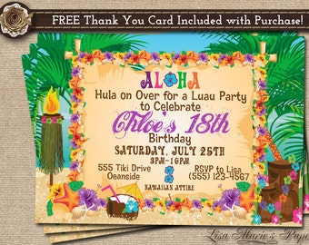 Hawaiian Party Invitation Luau Birthday
