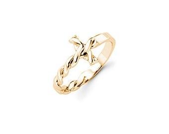 14K Gold Twisted Sideways Cross Ring, Twisted Sideways Cross, Sideways Cross, Cross Ring, Cross Jewelry, Christian Jewelry