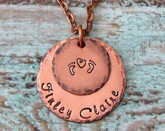 New Mom, Push Present, Hand Stamped Baby Feet Heart Personalized Mommy Necklace - Adoption, New Baby