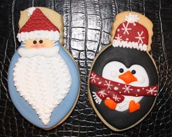 Christmas Cookies, Santa Cookies, Penguin Cookies, Holiday Cookies, Decorated Cookies, Snowflake Cookies