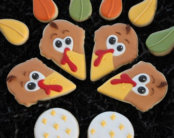 Thanksgiving Cookies, Custom Cookies, Turkey Cookies, Fall Cookies, Thanksgiving Favors, Decorated Cookies, Decorated Sugar Cookies