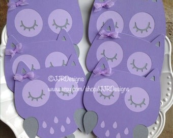 Owl Cut Outs - Lavender Owl- Owl Die Cut- Purple/Gray Owl- Birthday Party-Baby Shower Owl-Diaper Cake Owls- Centerpiece Owls