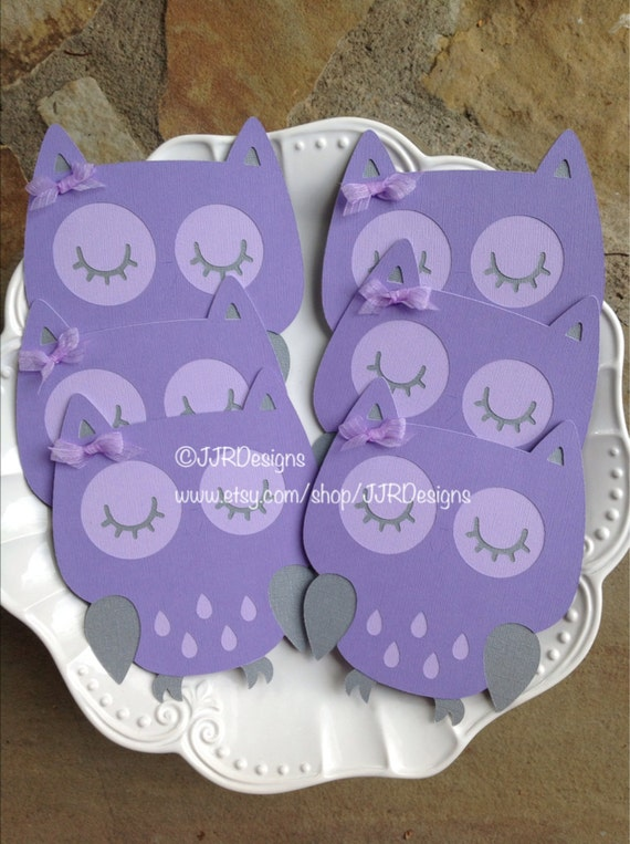 owl owl die cut purple gray owl birthday party baby shower owl