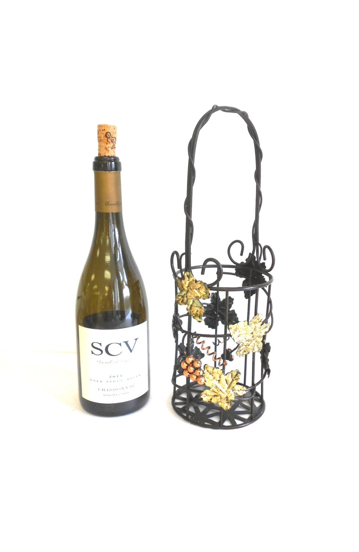 single bottlte decorative metal wine holder by goldleafgirl