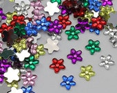 8mm 6mm Assorted Colors Mix Flat Back Flower Loose Acrylic Jewels Rhinestones Gems High Quality Pro Grade