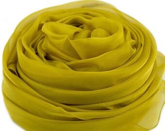 Ginger Yellow Silk Chiffon Scarf - Ginger Yellow Silk Scarf - Olive Silk Chiffon Scarf - Olive Silk Scarf - AS225