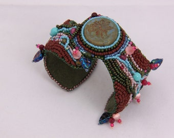 Bead embroidered Dragonfly cuff