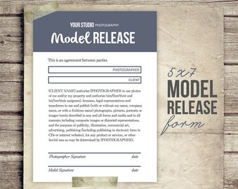 Model Release Form for Photographers  - Photography Business Forms - Photographer Model Release Contract - INSTANT DOWNLOAD