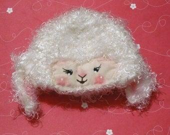 sweet sheep blythe crochet and hand painted helmet