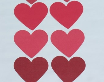 """Set of Red  Hearts/  card-stock paper/  HEART die cuts punches/ size 2 3/8"""""""