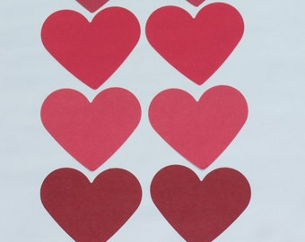 Set of Red  Hearts/  card-stock paper/  HEART die cuts punches/ size 2 3/8""