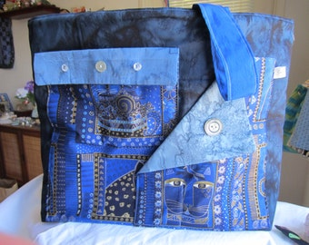 A large tote I made using Laurel Burch fabrics, a tote with many pockets