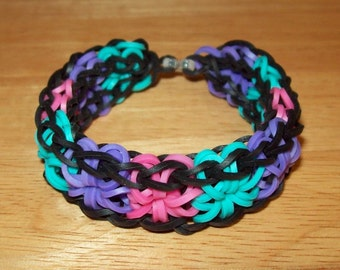 Rainbow Loom All Around Starburst Rubber Band Bracelet - Multi and Solid Color Choices