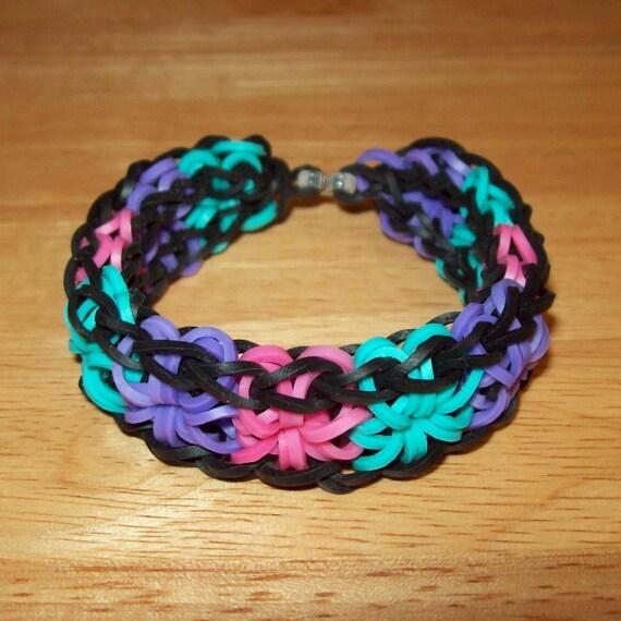 rainbow loom all around starburst rubber band bracelet multi