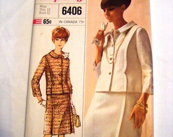 Vintage Simplicity 6406 Designer Fashion suit pattern skirt and jacket pattern sewing pattern