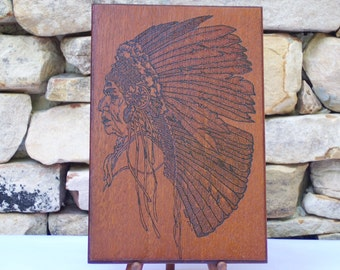 Native American Chief  Woodburning Pyrography