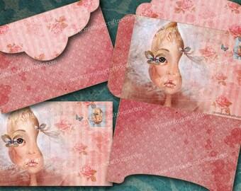 Charming ELEGANCE - Digital Download Printable Envelopes Digital Collage Sheet Scrapbook Paper Craft Instant Download