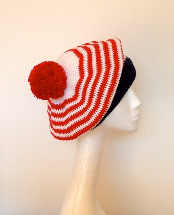 Items similar to french striped beret deauville 70 39 s for French striped shirt and beret