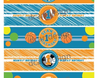 Printable Sports Variety Water Bottle Labels. First Birthday Water Bottle Labels. Personalized Birthday Labels.