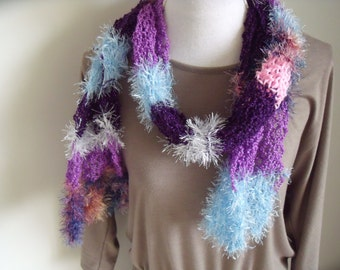 Glamour scarf in purple/blue/pink/silver (length 150 cm, width 20 cm)