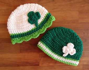 Crocheted Twin Baby Boy/Girl St. Patrick's Day Hat Set, White, Kelly Green & Lime Green with Shamrocks, Newborn to 24 Months - MADE TO ORDER