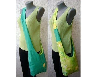 Tulip yellow green reversible shoulder bag