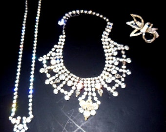 Vintage Rhinestone Necklaces and Brooches
