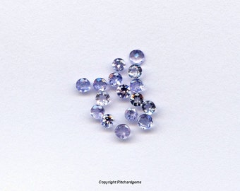 2.5 mm Natural Round Brilliant Faceted Tanzanite for One