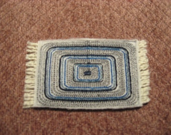 Half Scale Dollhouse Rectangle rug in blues 3 X 1 1/2 Inches