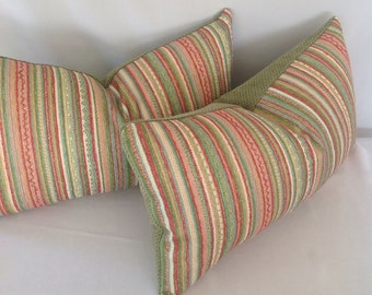 Set of 2: Multicolored Stripe Lumbar Pillow Cover