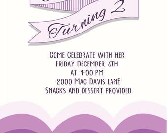 Purple Ombre Scallop Invitation
